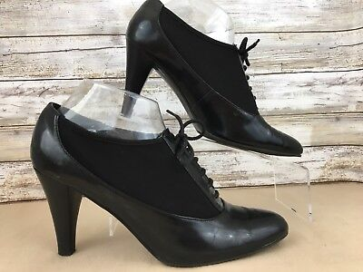 Impo Stretch Norma 8.5M Granny Tuxedo Booties Shoes Black Pointed Toe Slip On