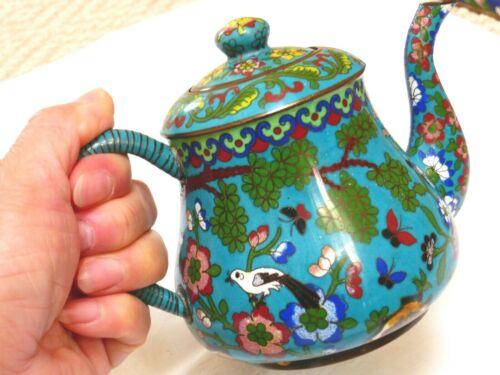 Vintage Chinese Cloisonne Enamel Small One Person Use Teapot