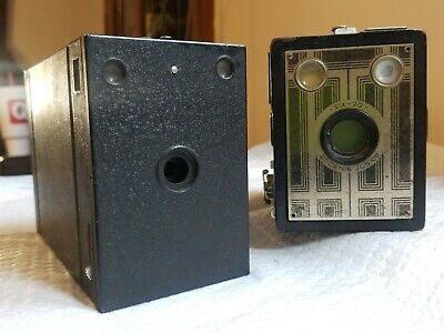2 EKC BOX Cameras *** ART DECO Six - 20 Brownie Junior and #2 Film Pack Hawk Eye