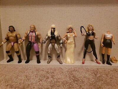 WWF Bone Crunching Action Figures Lot Sable Sunny Marlena Goldust Jeff Jarrett