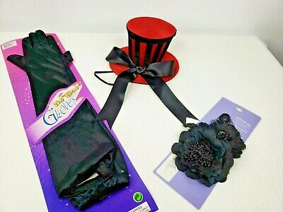 Burlesque Halloween Hair (Halloween Costume Lot Red Tiny Top Hat Black Elbow Gloves Hair Bow)