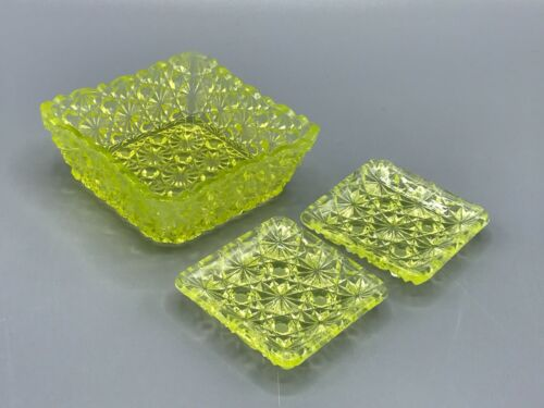 EAPG yellow vaseline glass daisy button nut dish with tiny side plates