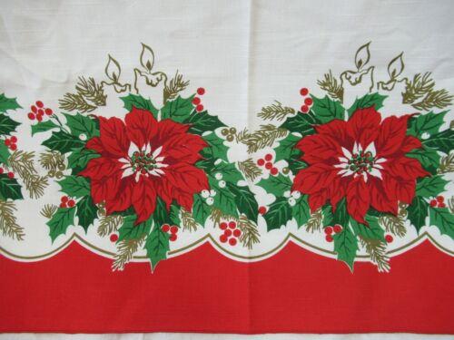 Vintage Christmas Poinsettia Rectangle Tablecloth 62x84