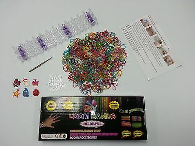 Colorful Craft Loom Bracelet Kit, DIY, 600 Rubber Bands, 24 Clips, Loom included
