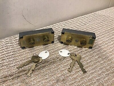 Two Lefebure 7700 Safe Deposit Lock Key Change 7737 With Keys 38 Nose