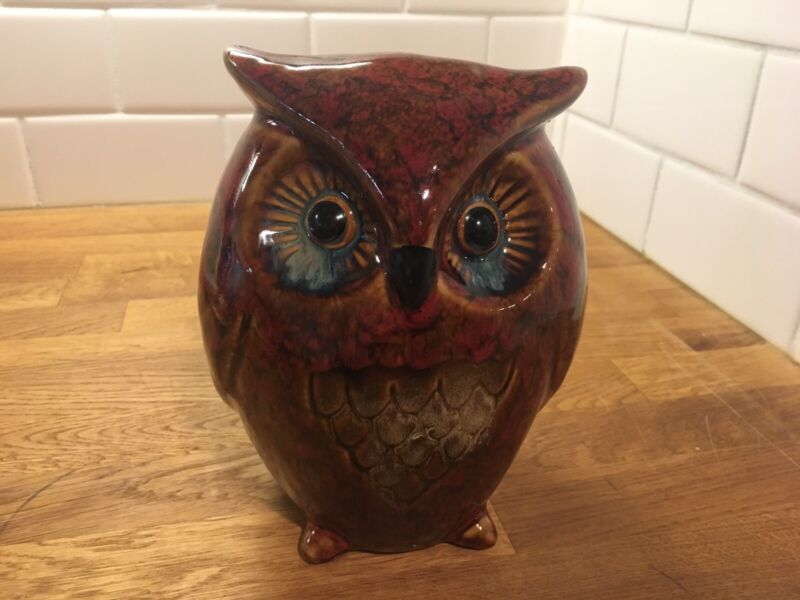 Ceramic Owl Figurine  Glazed Home Decor