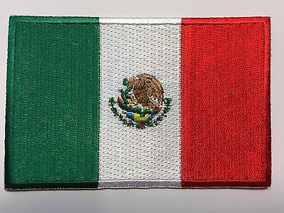 "MEXICAN FLAG PATCH IRON-ON/SEW-ON EMBROIDERED MEXICO EMBLEM (3½ x 2¼"")- HI QLTY!"