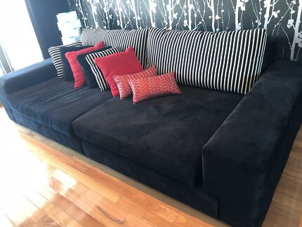Custom made black suede couch/ bed