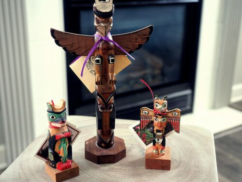 Alaska Black Diamond Hand Carved Totem Pole Set