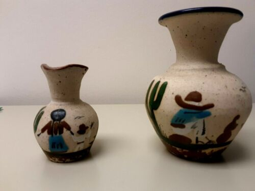 Tonal Mexican Pottery Small Vases Lot of 2