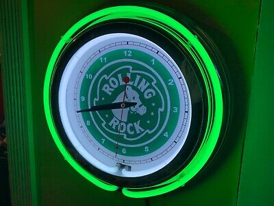 Rolling Rock Beer Bar Man Cave Green Neon Clock Sign
