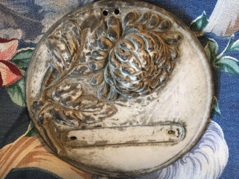 Antique vtg Art Nouveau French name plate~plaque~pediment~embellishment w flower