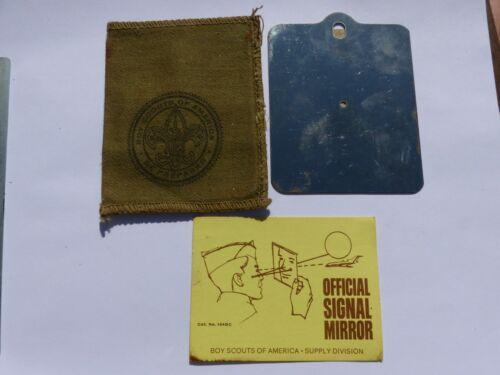 Vintage Official Signal Mirror Boy Scout BSA Equipment Khaki Cover Instructions