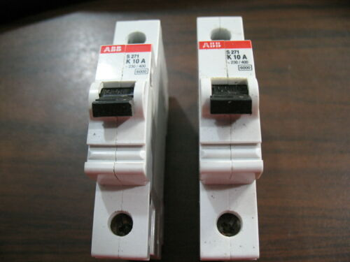 Lot of 2 ABB S271 K10A Circuit Breakers (10A, 1 Pole, 230/400 Volt) S 271 K10A