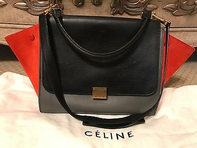 Authentic Celine Tricolor Trapeze MEDIUM Purse Handbag Bag
