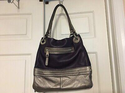 B MAKOWSKY Silver Gray & Deep Purple Soft Leather-Bottom Zipper Handbag