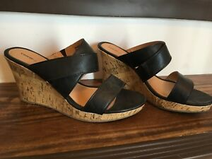 Black strap and cork sandals from George