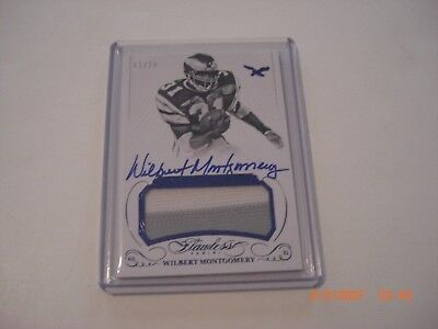 WILBERT MONTGOMERY 2015 FLAWLESS 2-COLOR GAME USED JERSEY AUTO 01/20 SIGNED CARD