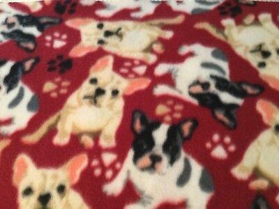 Bulldogs Fleece Blanket - Handmade fleece pet blanket/throw, French bulldogs puppies!