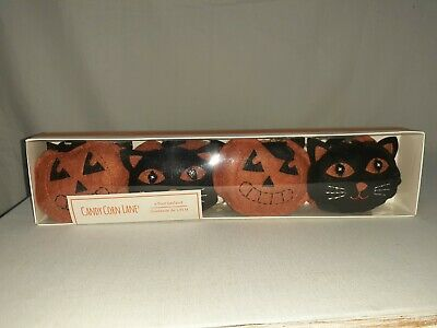 Black Cat & Orange Pumpkin Halloween Garland 6 Ft Candy Corn Lane Plush Stiched