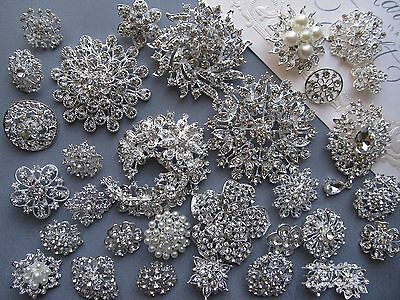 Brooch Lot 32/33 Mixed Silver Pin Wholesale Rhinestone Pearl Wedding Bouquet DIY