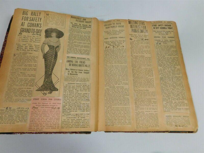 Antique Scrapbook 1913 - 1916 Judge Sheridan E Fry Chicago Municipal Court