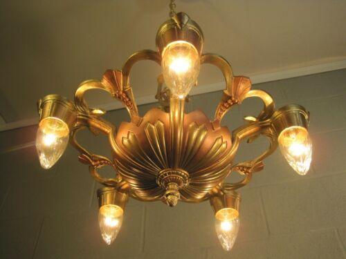 Chandelier Art Deco Antique 5 Light Restored 30