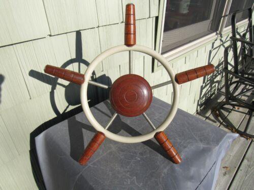 VINTAGE ORIGINAL CLASSIC BOAT STEERING WHEEL ROPE OR CABLE STEERING COMPLETE