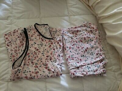 Kate Spade Ruffled Floral Pink Pajama Set XL dream a little dream