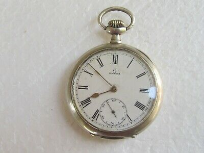Antique Swiss Silver Pocket Watch OMEGA 52mm - Working