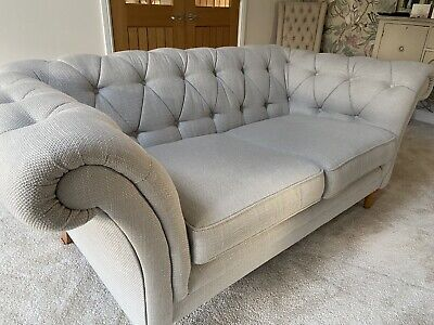 Laura Ashley 3 Seater Chesterfield Sofa - Dove Grey - Immaculate Condition