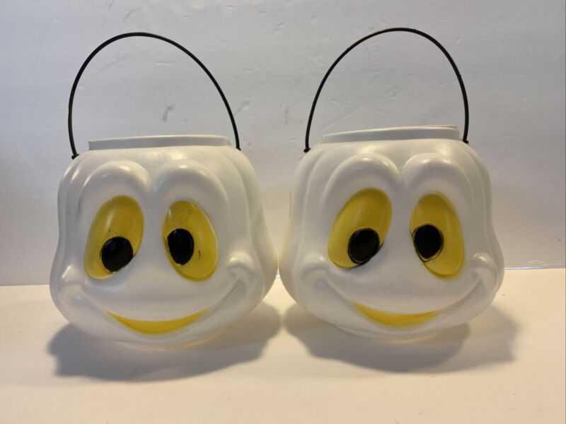 2 Vintage Ghost Halloween Blow Mold Candy Trick or Treat Buckets