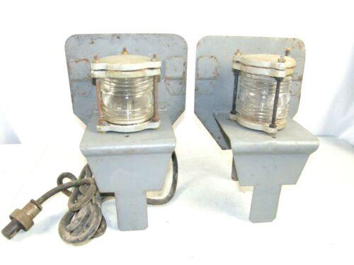 Vintage Nautical Marine Lantern Light Corning Glass Portable Ship Lamp US Navy?