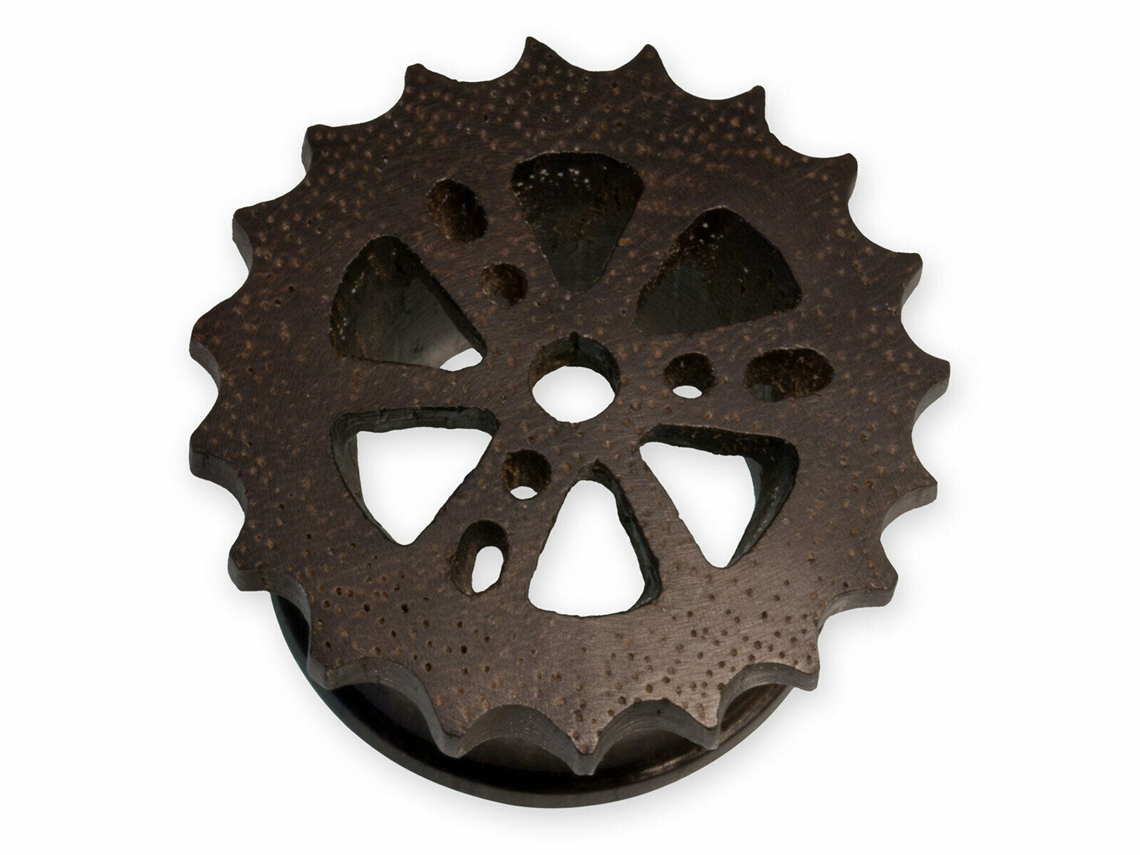 Zahnrad Flesh Tunnel Holz Piercing Plug Steam Punk Design Zahnkranz 10 - 30 mm