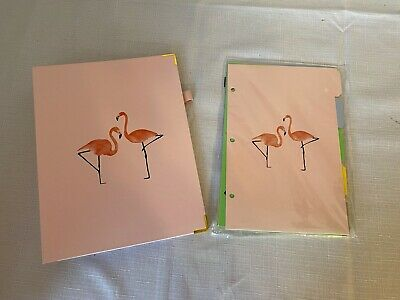 Martha Stewart Flamingo Binder And Tab Dividers With Pocket Set All Brand New