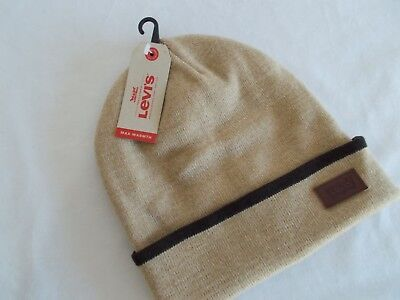 NWT Levi's DOUBLE KNIT BEANIE Leather Medallion SAND Cuff Tip Stripe   MENS OS