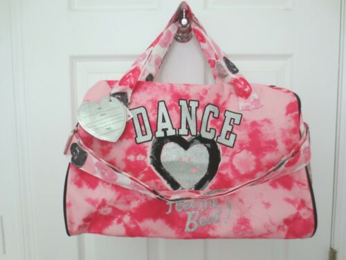 Justice Dance Feel the Beat Duffel Bag Pink Tie Dye/Hearts  NWT