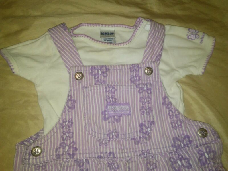 Vintage Baby Girl Oshkosh Bgosh Purple Butterfly Overalls Bib Outfit 18 Months