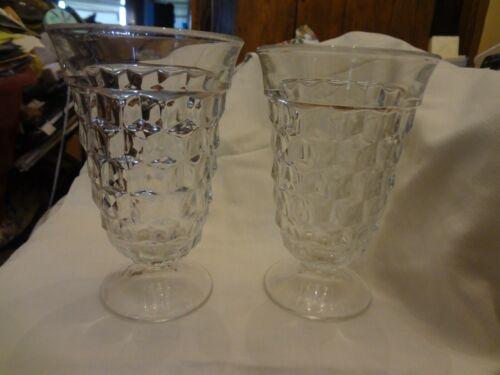 2 Fostoria American Cubist Glassware Footed Tumbler Water Ice Tea Glasses Goblet