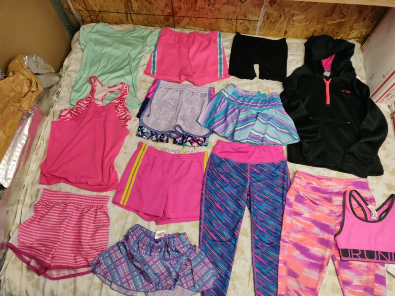 Girls Mixed Lot of Athletic Sports Clothing Size 7-8 Lot Of 13 Pieces Spring