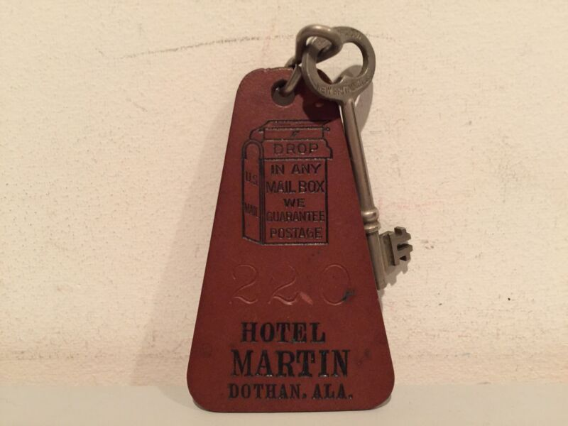 VINTAGE KEY HOTEL MARTIN DOTHAN ALABAMA ROOM KEY ROOM #220 VERY RARE!