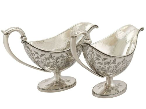Scottish Sterling Silver Sauceboats - Antique George III 1784