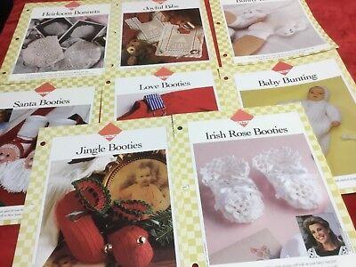 - 8 Baby CROCHET PATTERNS Irish Rose Booties, Bonnets, Filet Bibs,Bunting