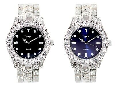 Men Ice Watch Bling Rapper Simulate Diamond Metal Silver Hip Luxury Cubic Prom