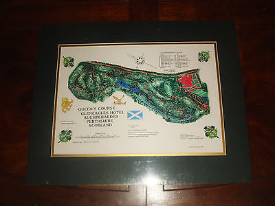 Vintage GLENEAGLES GOLF CLUB QUEENS COURSE matted print Scotland 2014 RYDER CUP