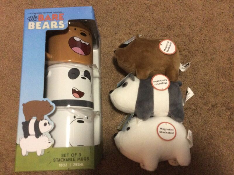 We Bare Bears Stacking Mugs And Plush New With Tags