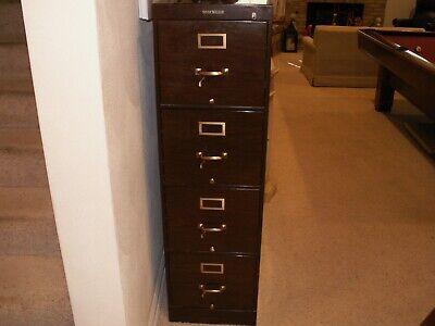 Shaw Walker Metal Woodgrain 4 Drawer Filing Cabinet Lockable