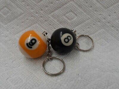 2) Pool Ball Keychains (1) 8-Ball & (1) 9-Ball