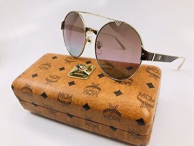 New MCM 124S 728 Gold & Brown Rose Azure  Sunglasses 58mm with (Rose Tinted Round Sunglasses)