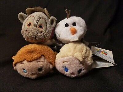"Disney Tsum Tsum Frozen Lot of Elsa Anna Olaf & Sven Plush Stuffed Toys 3 1/2"""